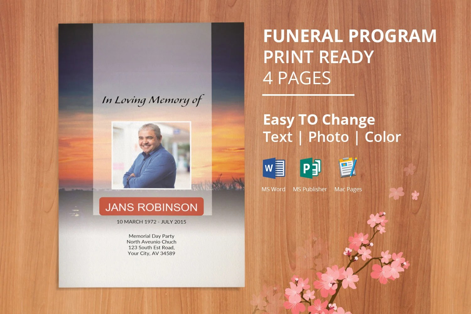 Funeral Program Template Obituary Template Editable With Etsy