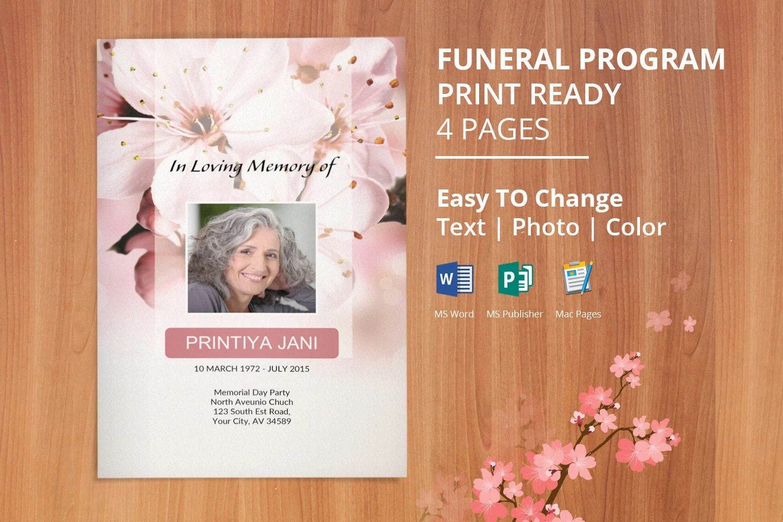 Funeral Program Template Memorial Obituary Template Etsy