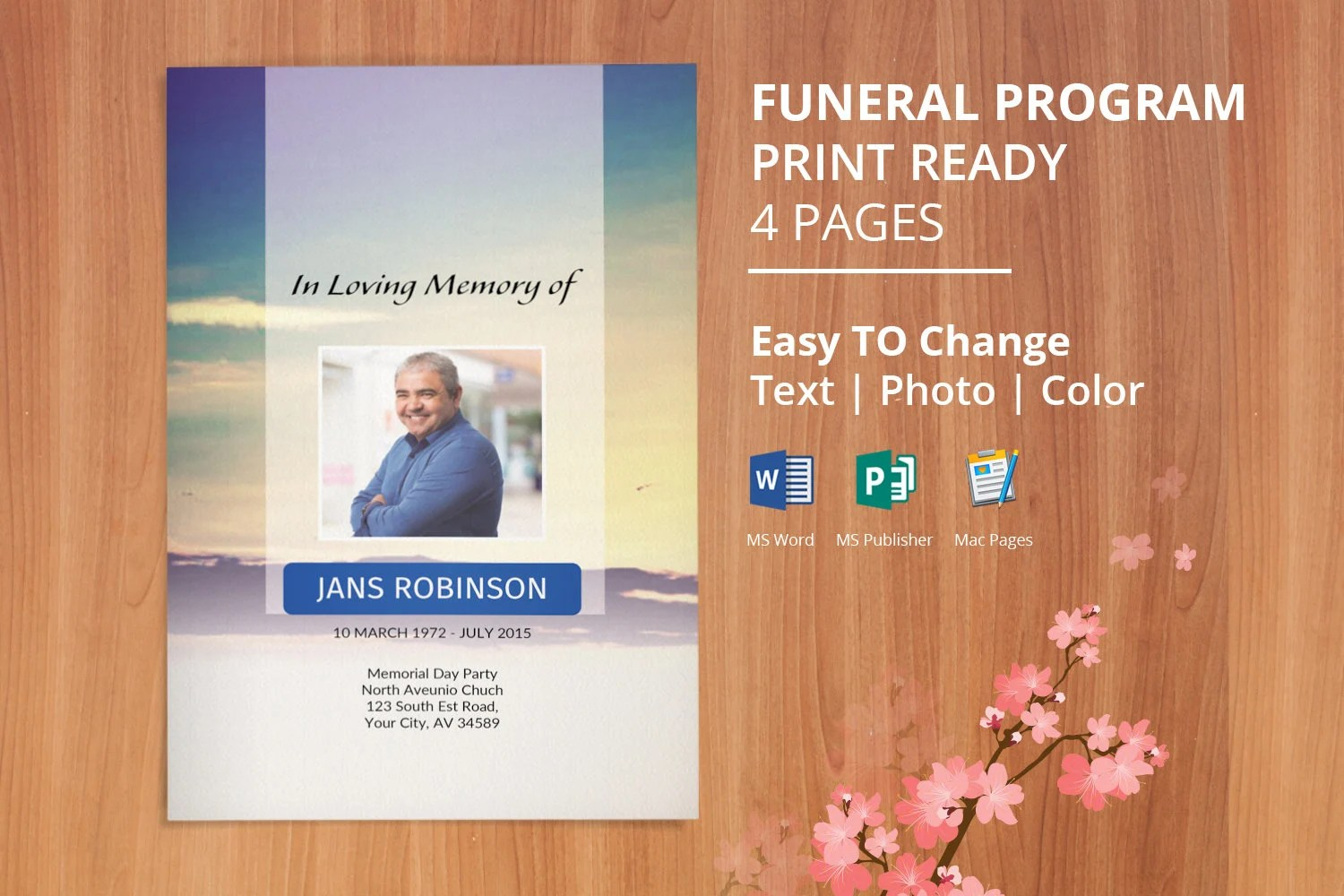Funeral Program Template Word Obituary Template Editable Etsy