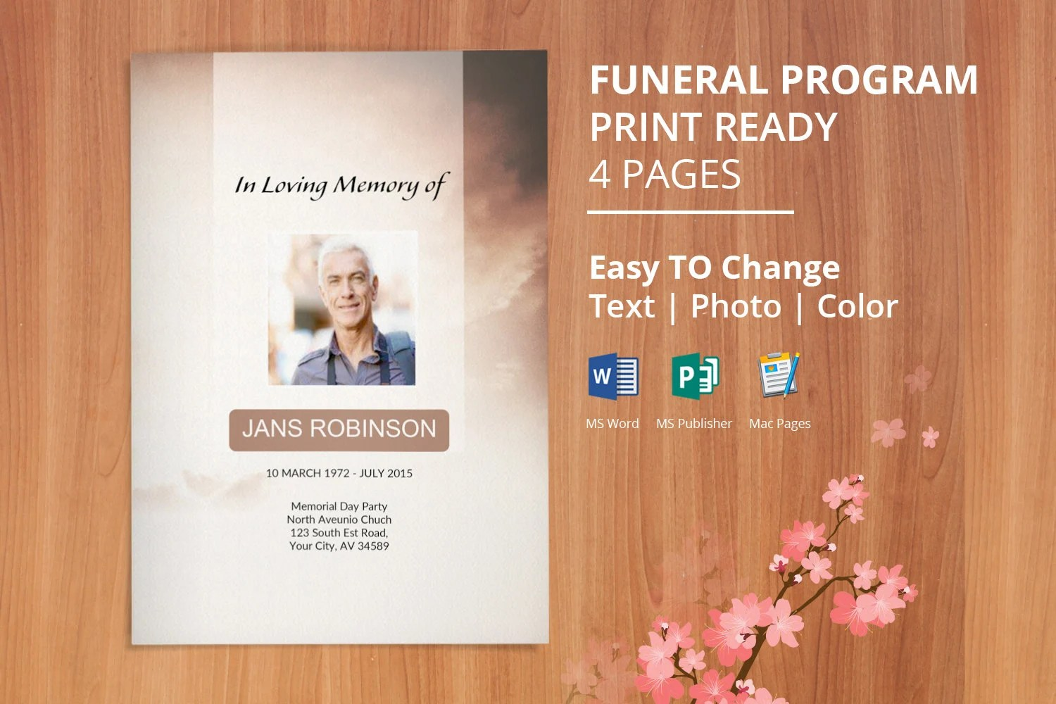 Printable Funeral Program Template word Obituary Template Etsy
