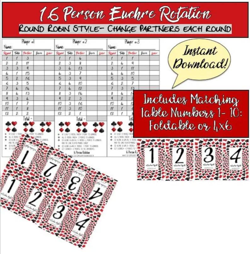 16 Person Euchre Rotation Score Sheet / Score Card / Euchre Etsy