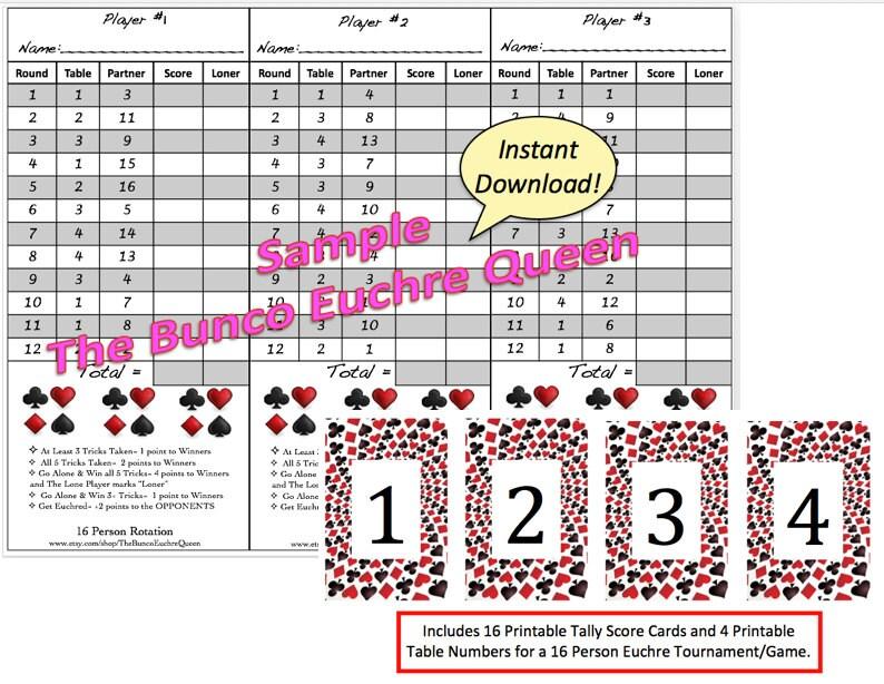 16 Person Euchre Rotation Score Sheet / Score Card / Euchre - euchre score card template