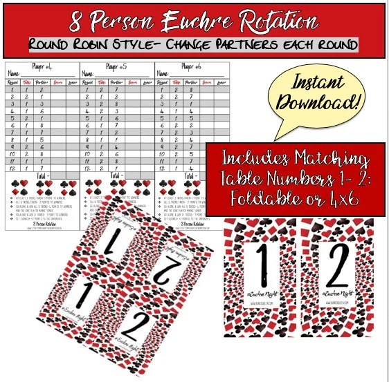 8 Person Euchre Rotation Printable Score Sheet / Score Card / Etsy