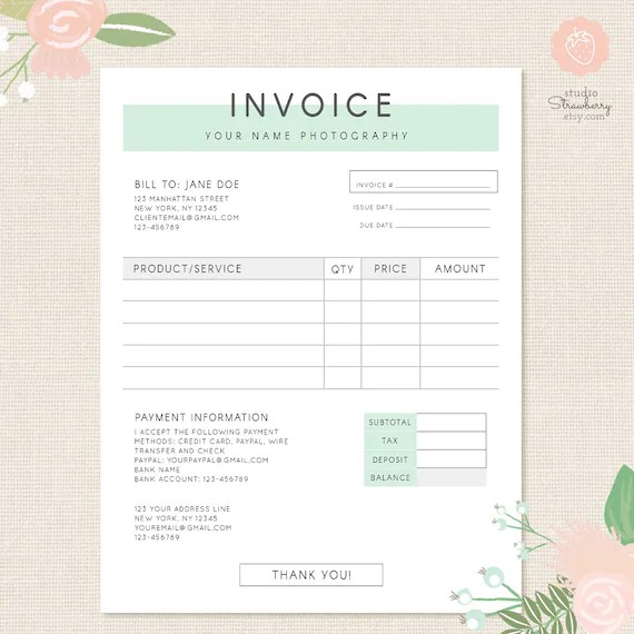 Invoice template Photography invoice Business invoice Etsy