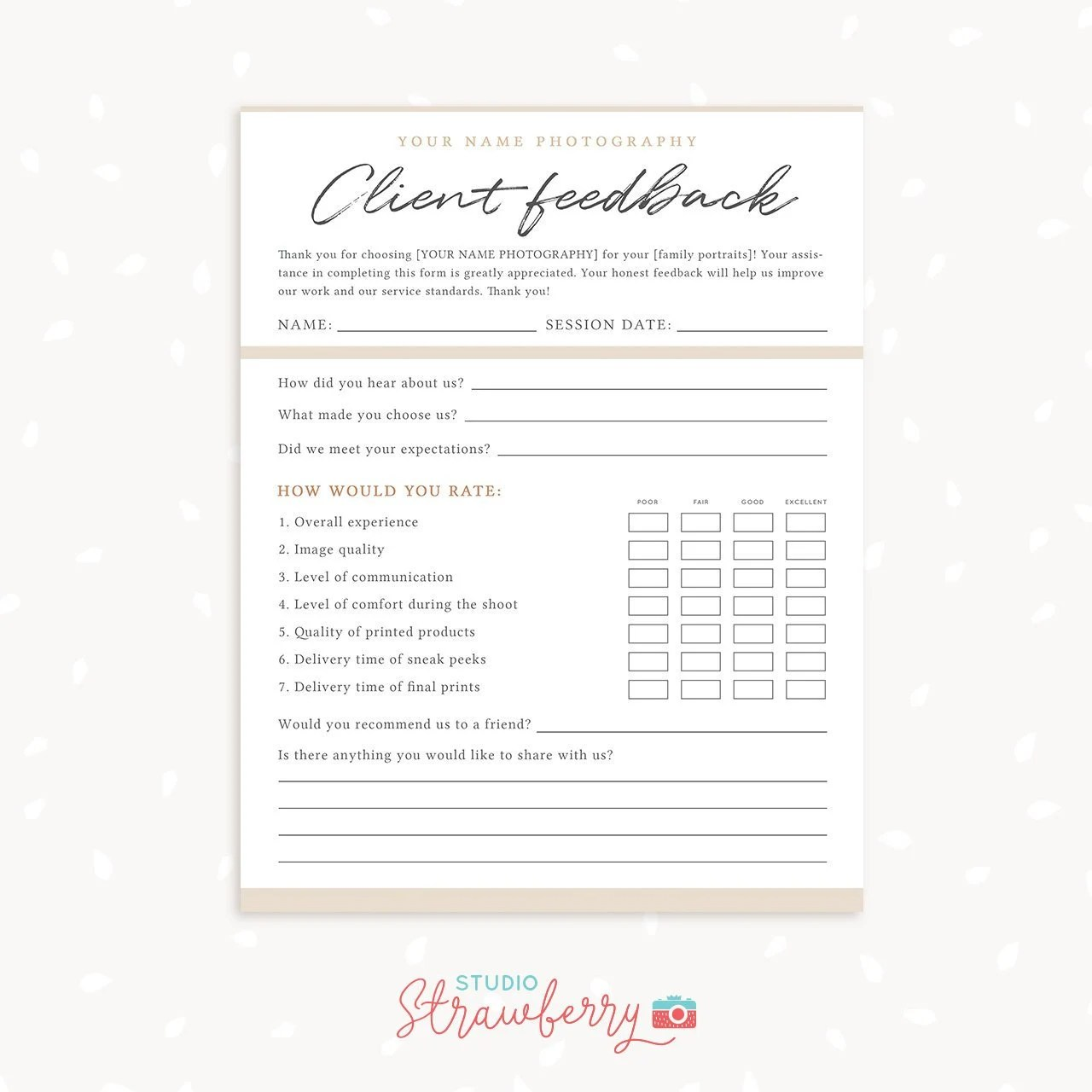 Client Feedback Form For Photographers Customer survey Etsy