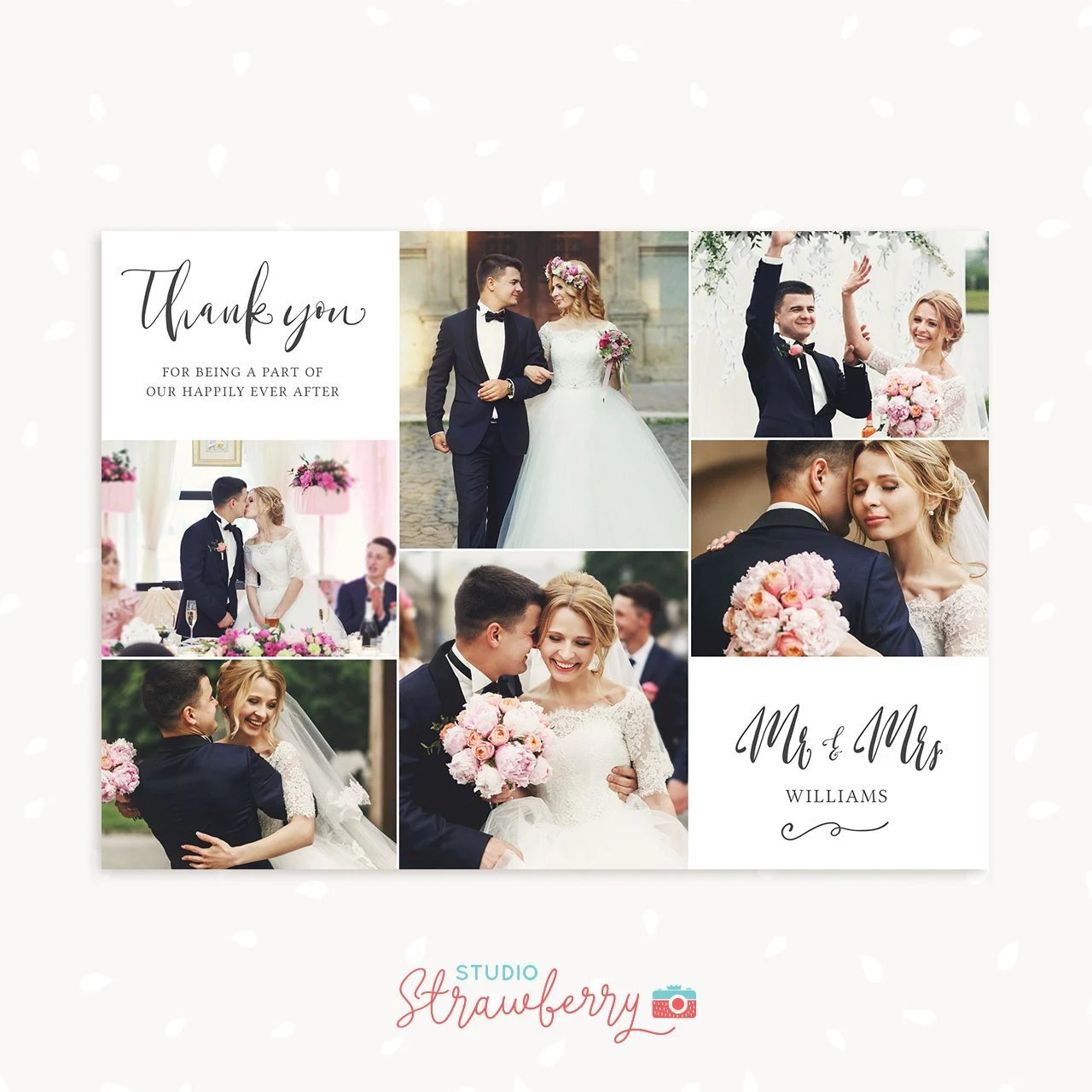 Wedding thank you cards with photo template Thank You Card Etsy