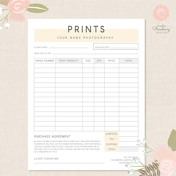 Order form template Photography order form Photography Etsy