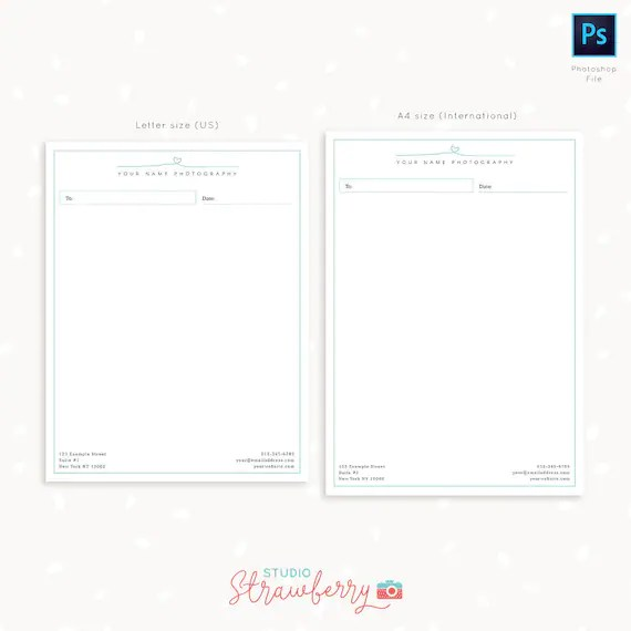 Photography Letter Head Template for Photoshop Headed Letter Etsy
