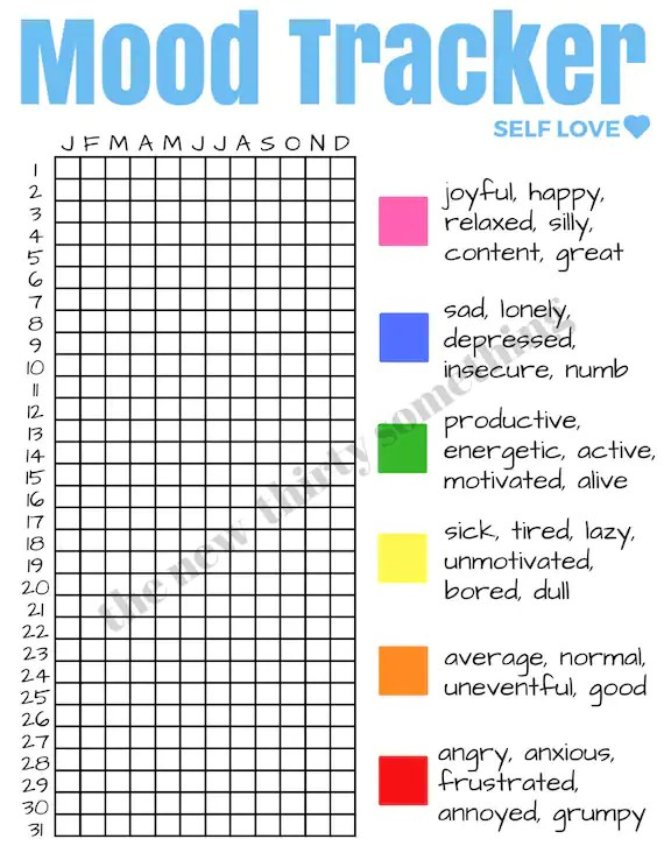 Mood Tracker Self Love Mental Health Downloadable Print - mood chart form