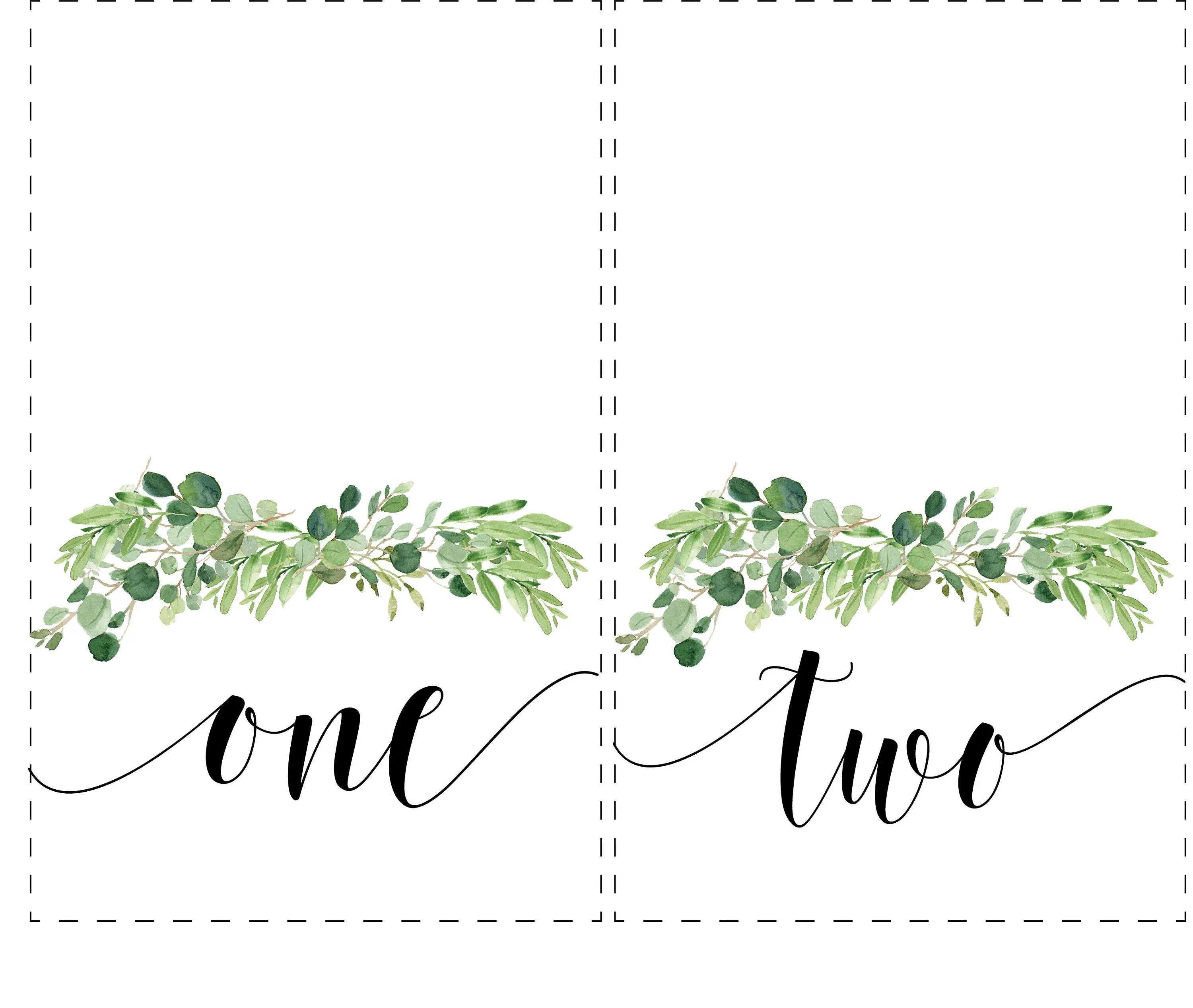 Eucalyptus Tented Table Numbers/ Table Number Cards/ Etsy