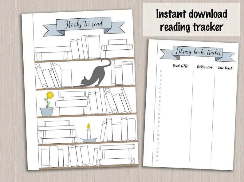 Bullet journal template  reading planner template reading log Etsy