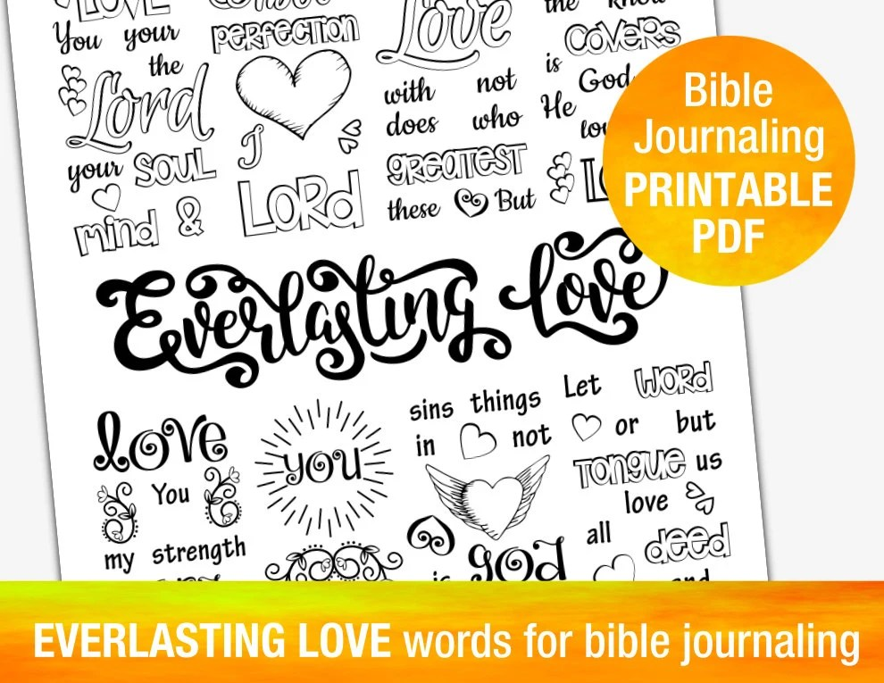 EVERLASTING LOVE printable TEMPLATES for bible journaling Etsy