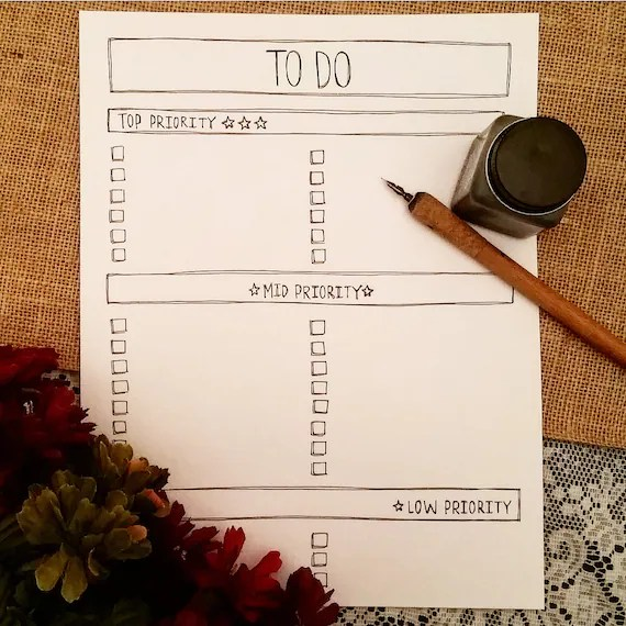 To Do List Printable Printable Priority List To Do List by Etsy