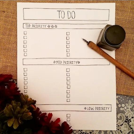 To Do List Printable Printable Priority List To Do List by