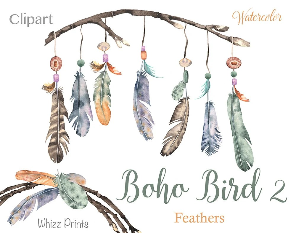 Boho Bird 2 Watercolor feather wreaths feather watercolor Etsy