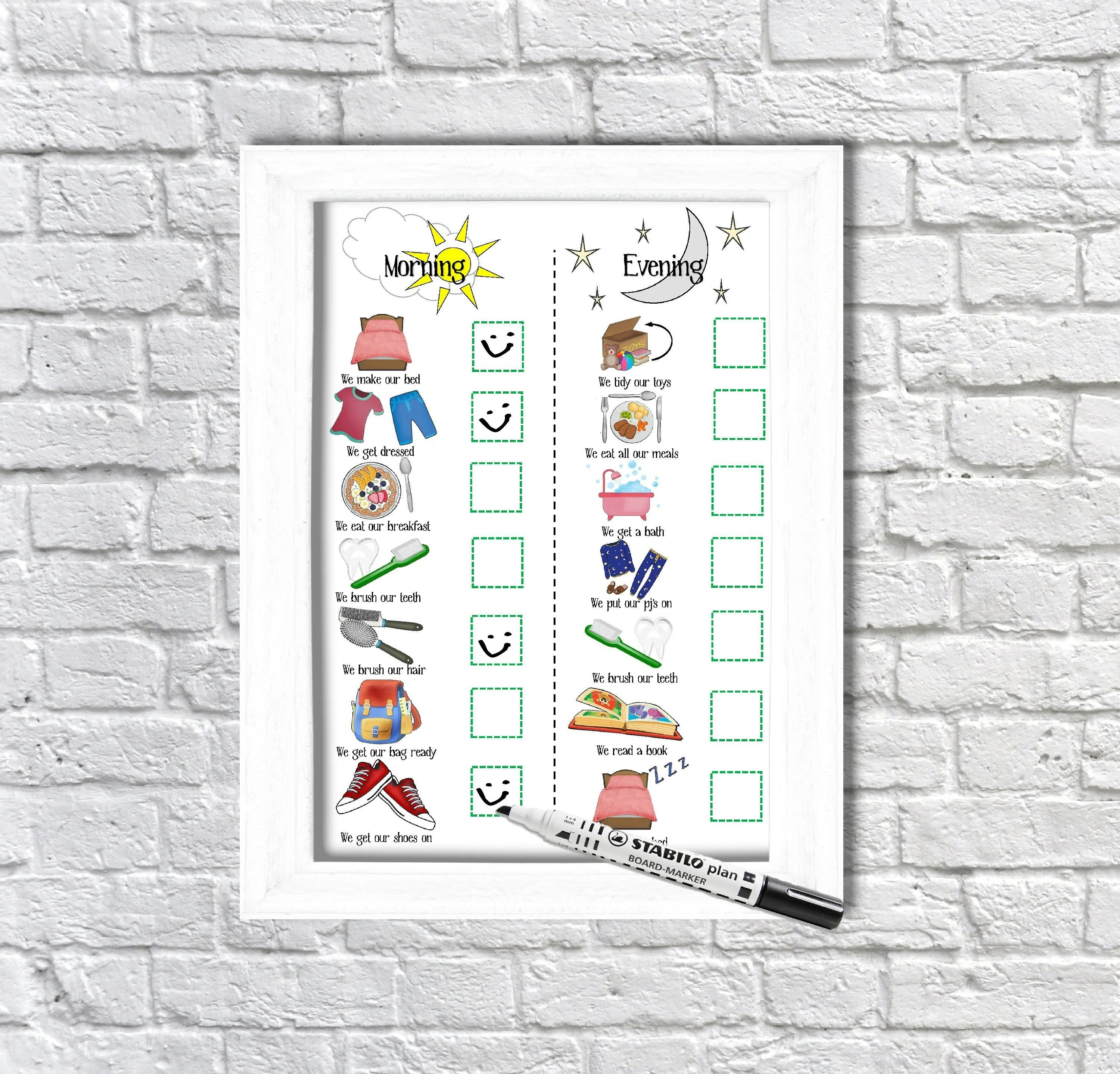 Kids Morning and Evening Routine Chart printable toddlers Etsy