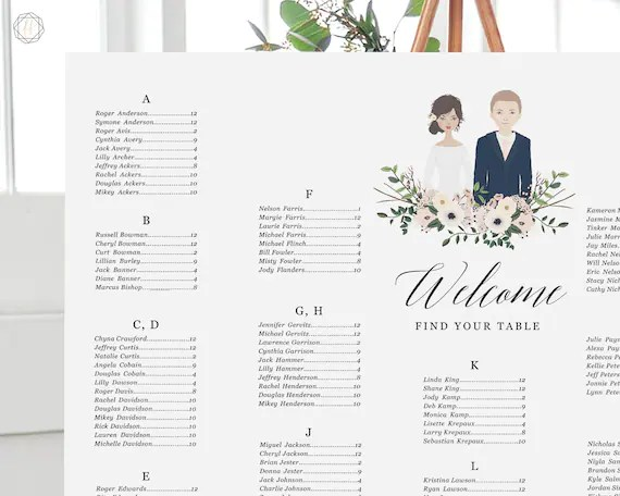 Wedding Seating Chart Seating Chart Wedding Wedding Table Etsy