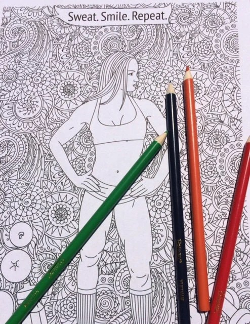 Fitness Coloring Pages Fitness Colouring Page Motivational Etsy