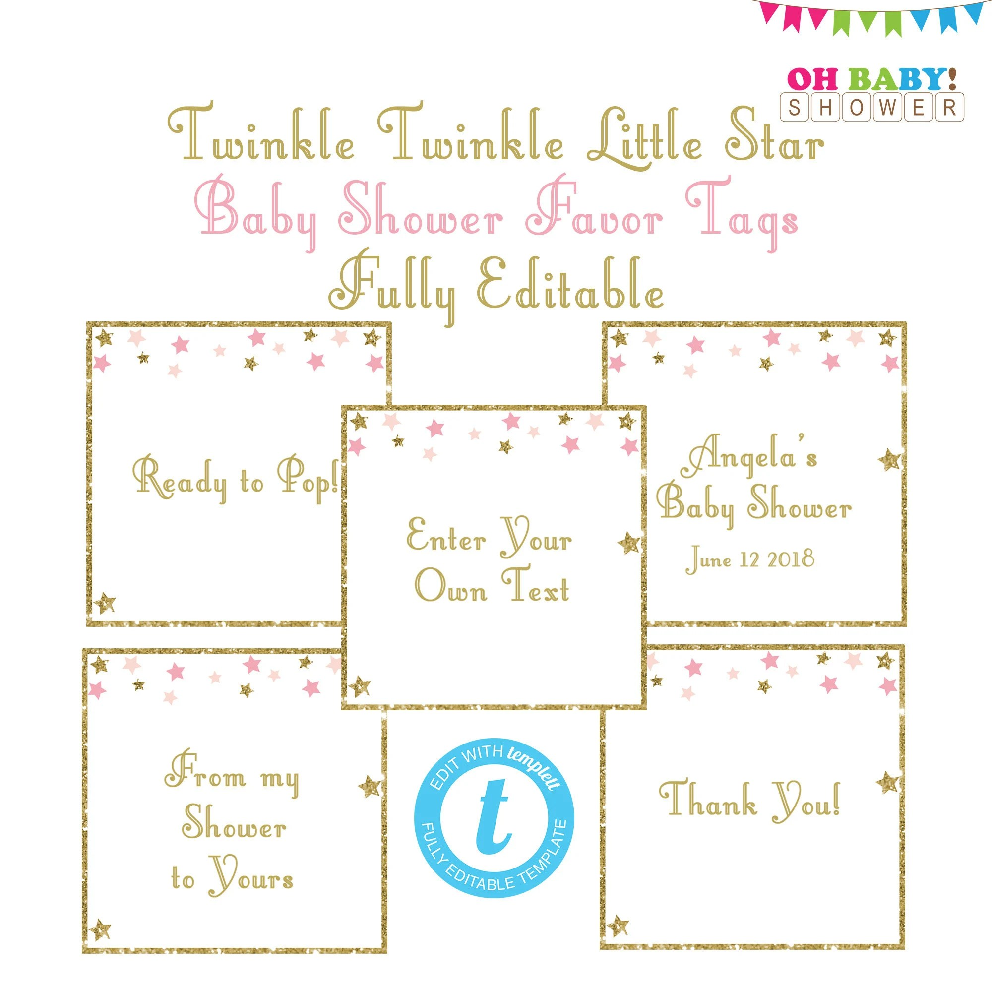 Thank You Tags Template Favor Tags Baby Shower Editable Etsy