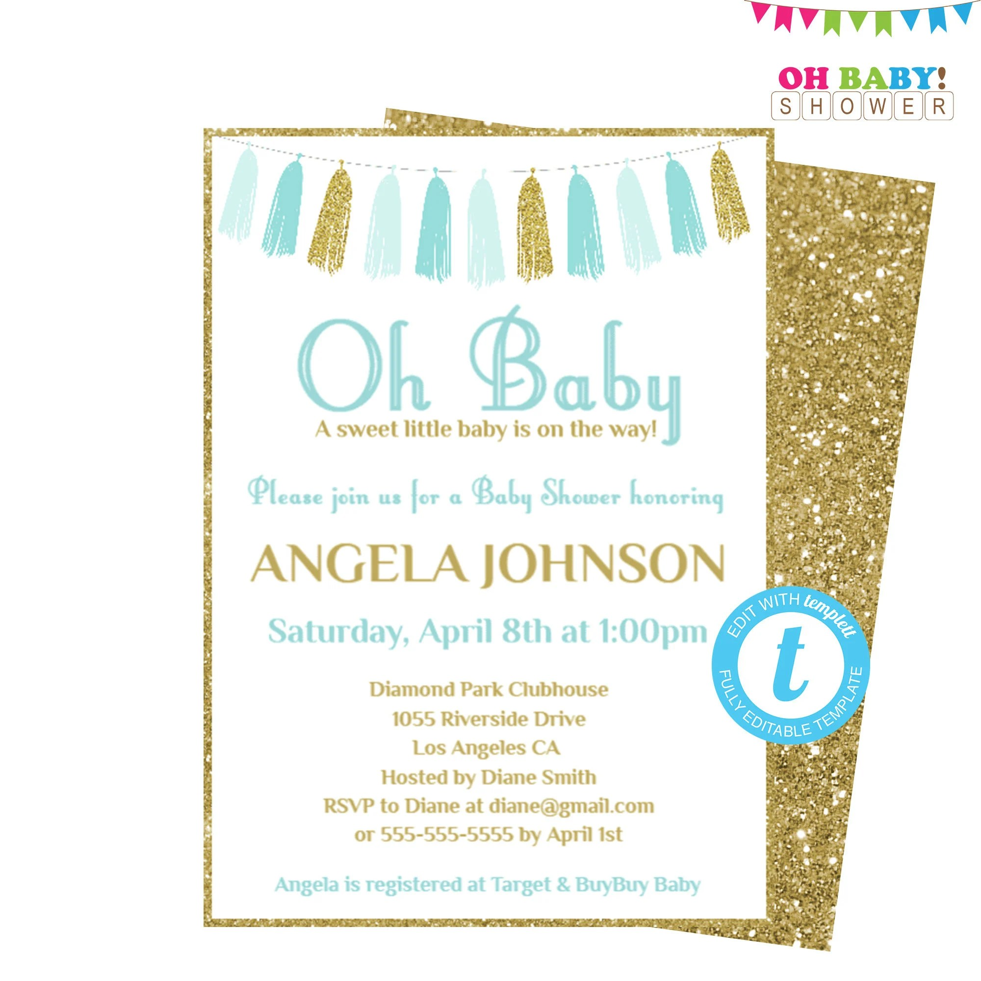 Blue and Gold Baby Shower Invitation Template Editable Baby Etsy