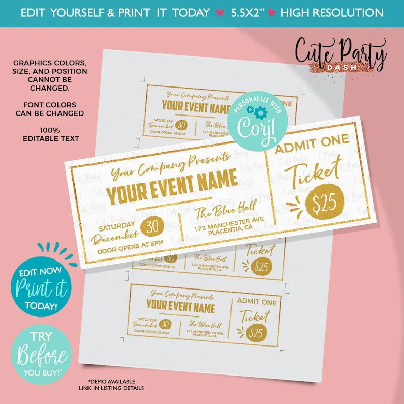 INSTANT DOWNLOAD EDITABLE Event Golden Ticket Printable Etsy