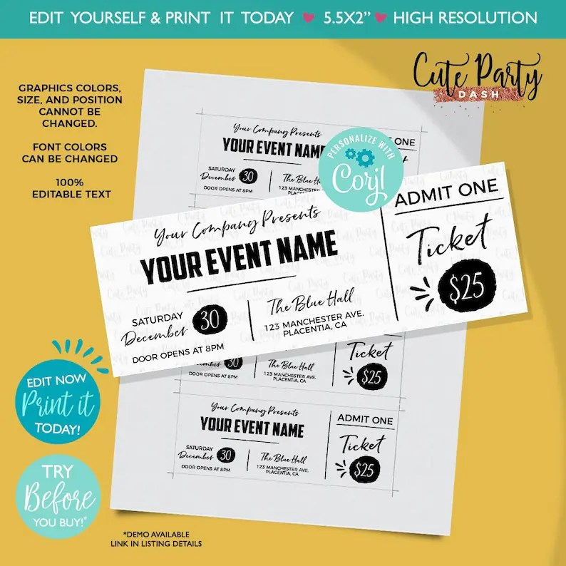 INSTANT DOWNLOAD EDITABLE Event Ticket Printable Event Etsy