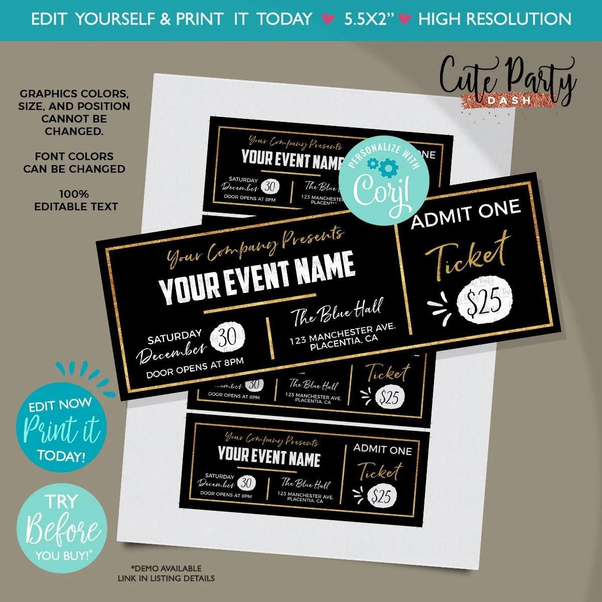 INSTANT DOWNLOAD - EDITABLE Event Golden Ticket Printable Event Black Gold  Ticket Template Printable Event Fake Pass corjl template ticket