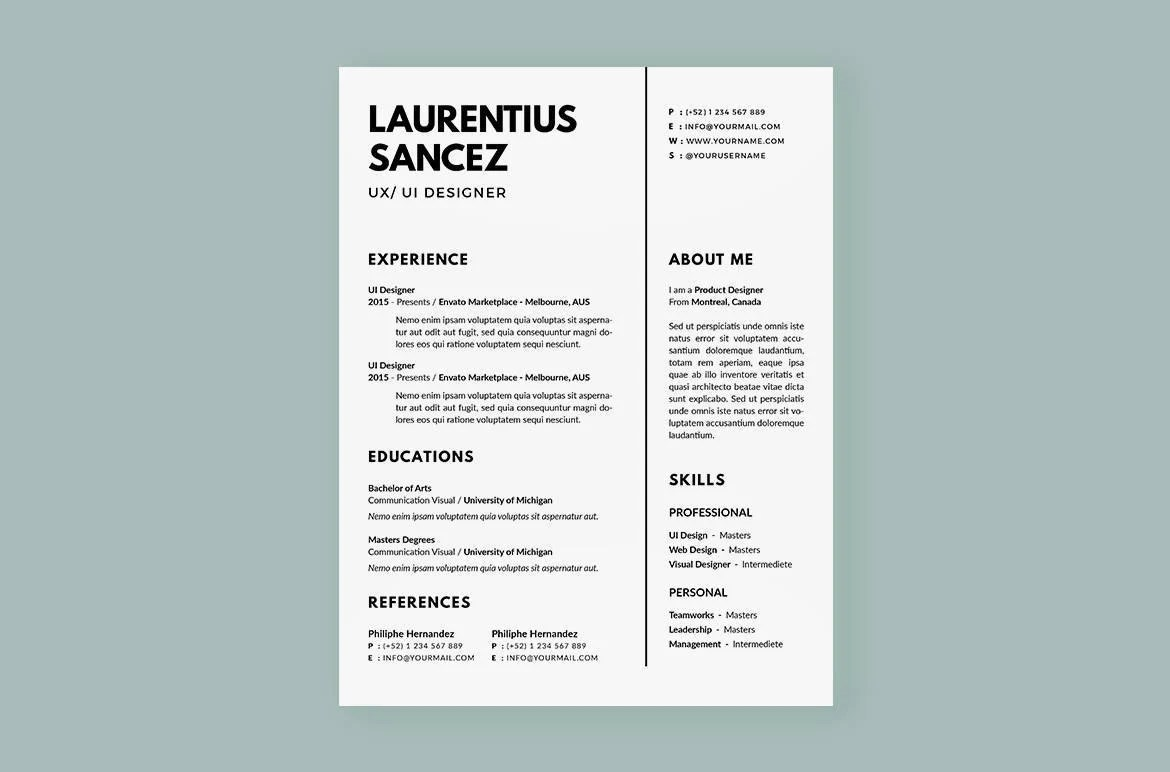 Clean Resumes CV Template Professional and Creative Resume Etsy