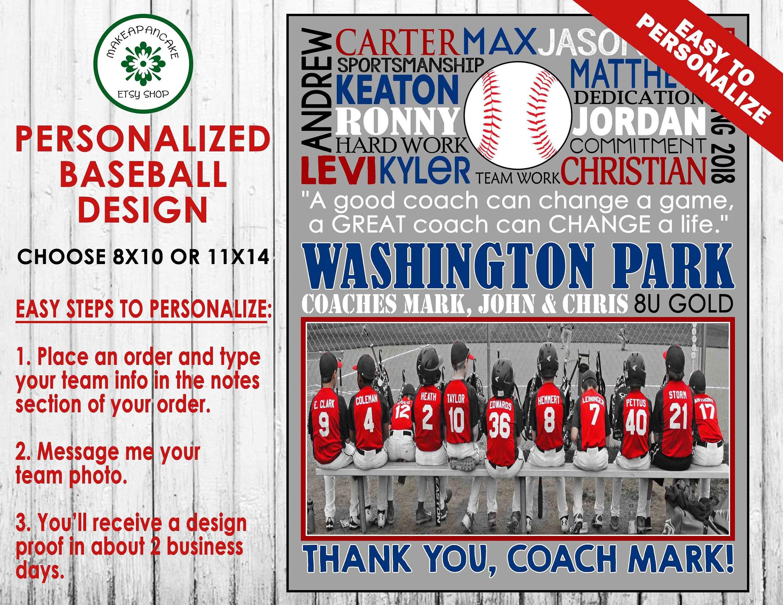 BASEBALL COACH Gift Customized ~ Baseball Team Gift ~ Baseball Thank You  Gift ~ Baseball Coach Thank You ~ Digital Jpeg File