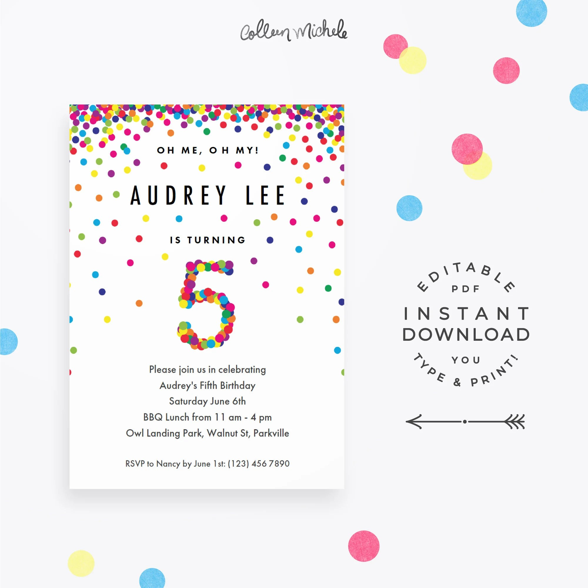 Rainbow 5th Birthday Party Invitation Instant Download Etsy
