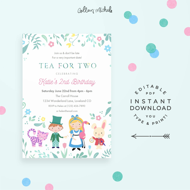 Tea for Two Invitation 2nd Birthday Invitation Editable PDF Etsy