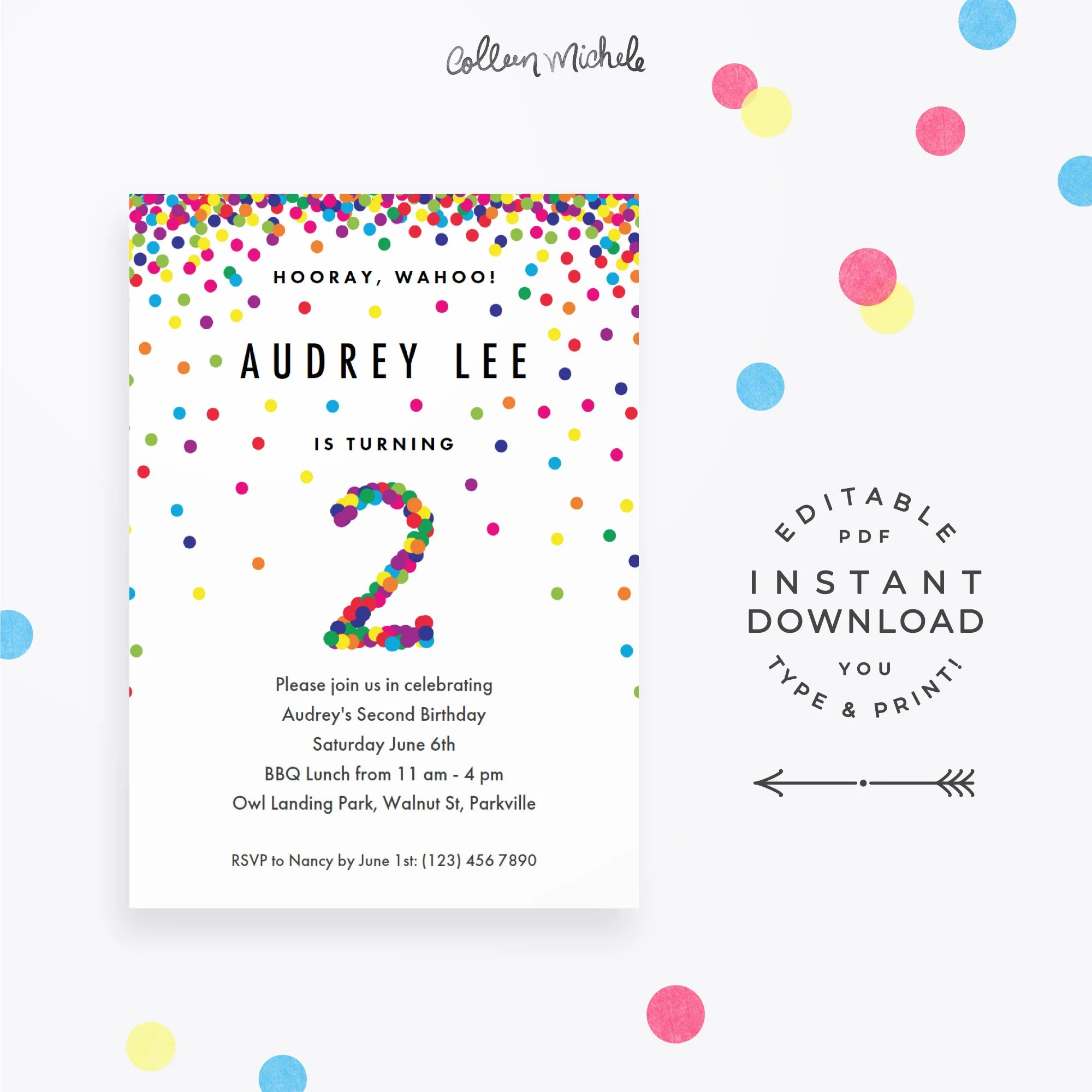 Rainbow 2nd Birthday Invitation Instant Download Printable Etsy