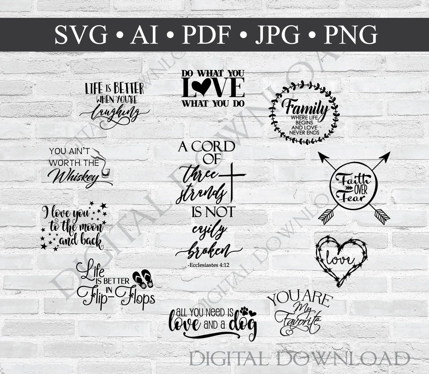 Quotes for Crafts Bundle SVG Clipart Sayings for Vinyl Etsy