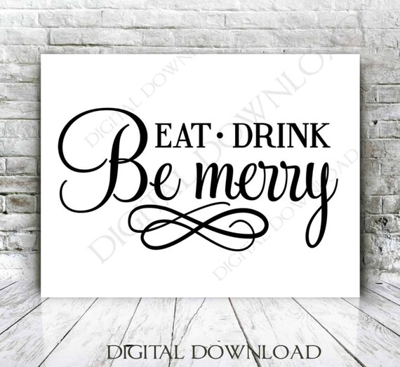 Clipart Quote Eat Drink Be Merry Vector Digital Design Etsy