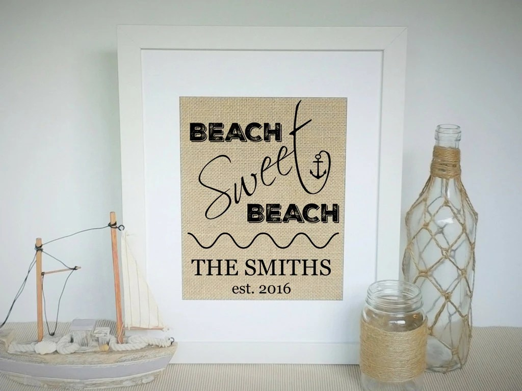 Housewarming Gifts For Young Couples Beach House Warming Gift Housewarming Gifts For New Home Owner Custom Family Name Sign Gift For Family Couple Nautical Decor Burlap Print