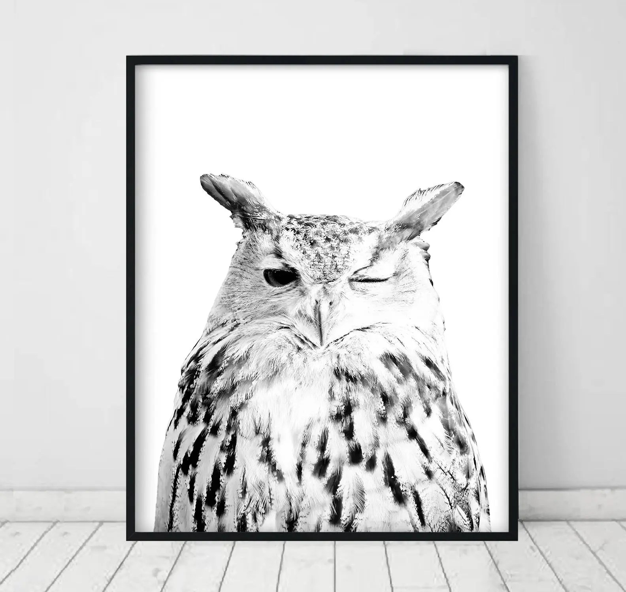 Owl print Owl Printable Art Owl Art Print White Owl decor Etsy