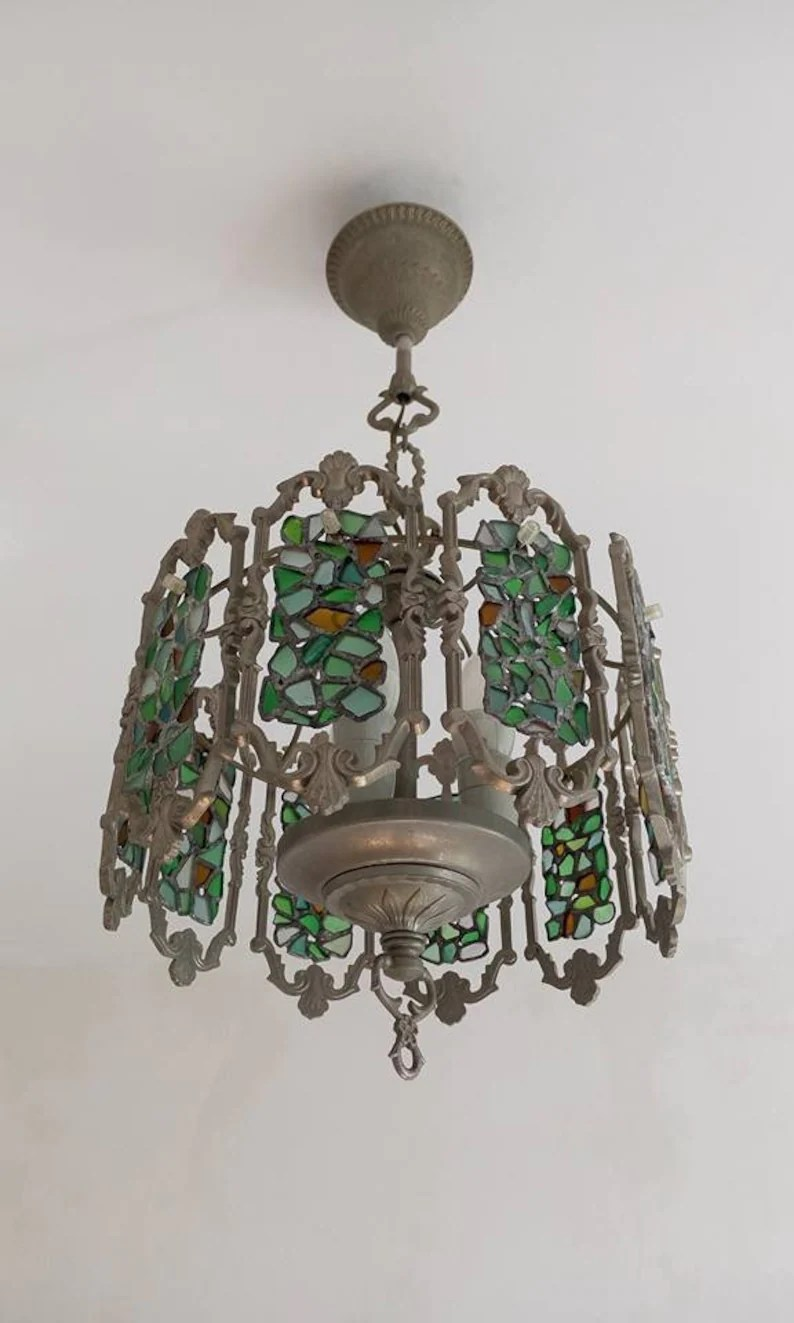 Glass Lamp Ceiling Stained Sea Glass Chandelier Tiffany Style Beach Glass Lamp Ceiling Pendant Light Rustic Interior Art