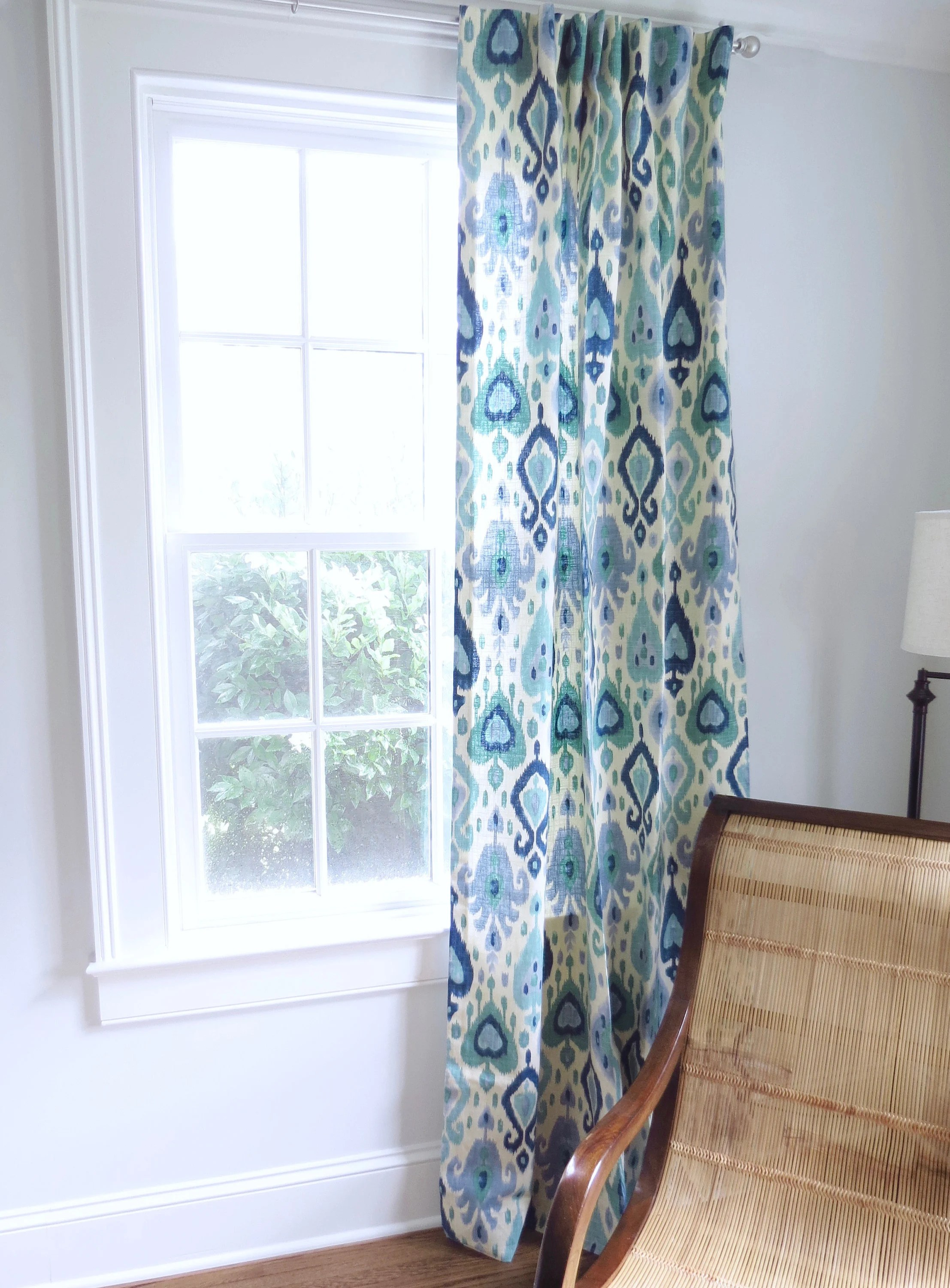 Curtains For A Blue Room Blue Green Curtains Ikat Curtains Blue Ikat Fabric Curtain Panels Blue Green Ikat Drapes Wide Ikat Curtains Long One Room Challenge Curtains