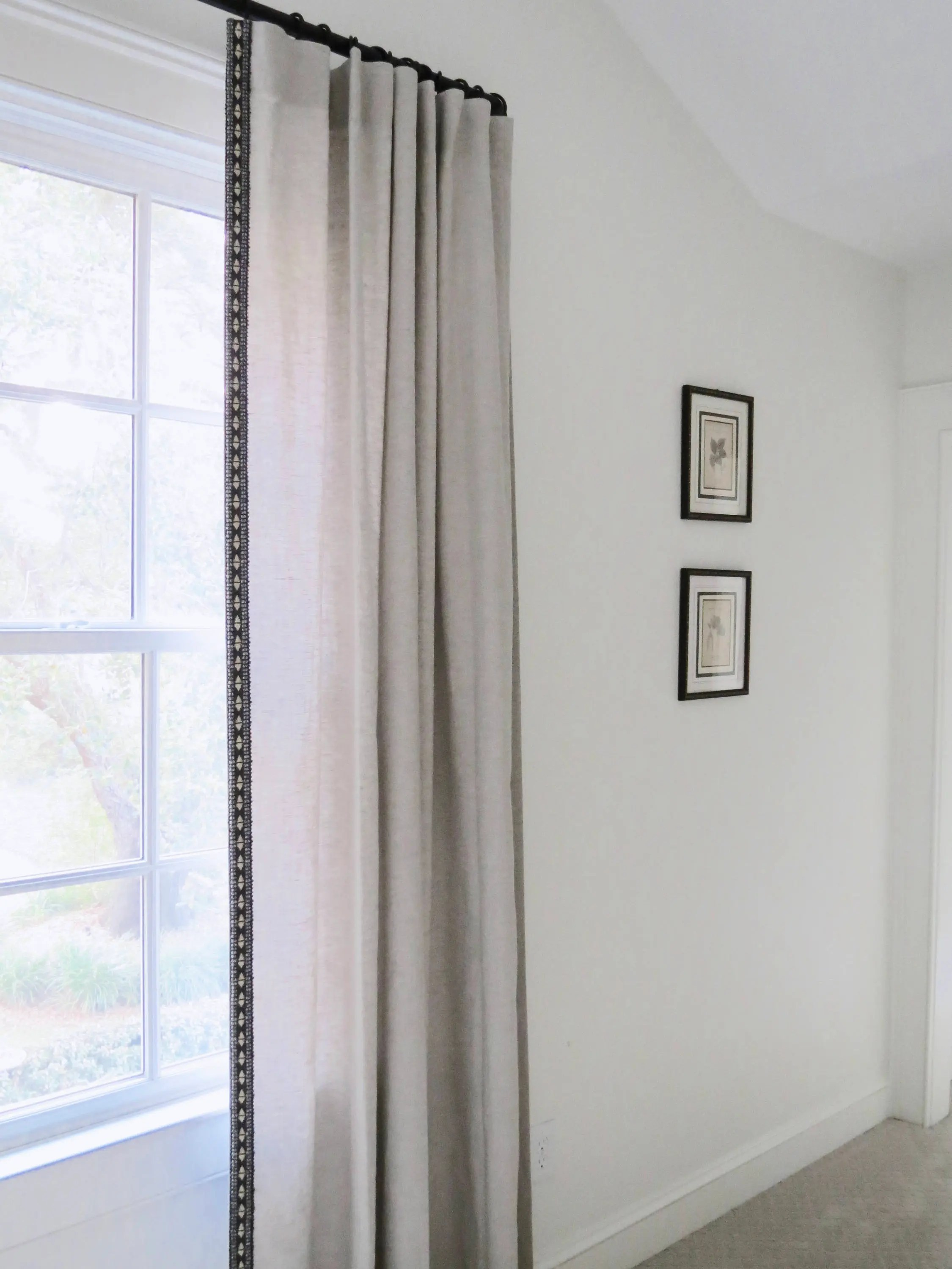 Ribbon Trim Curtains Linen Curtains With Trim Beige Linen Tan Linen Dark Gray Trim Tape Boho Curtains Bedroom Curtains Natural Linen Curtains Border Ribbon Trim