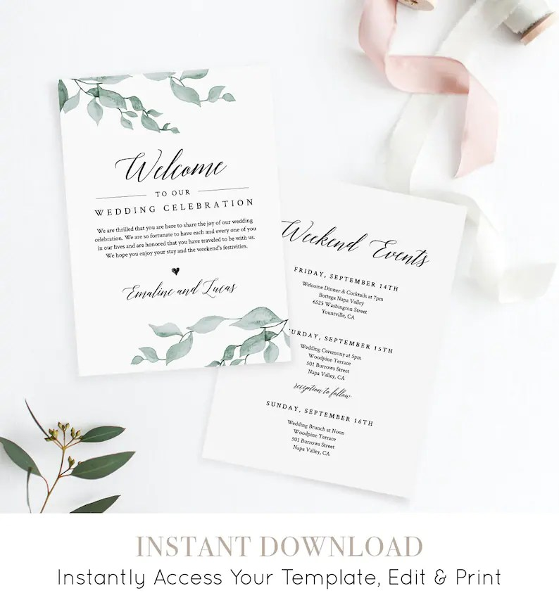Welcome Letter and Itinerary Wedding Agenda Timeline of Etsy