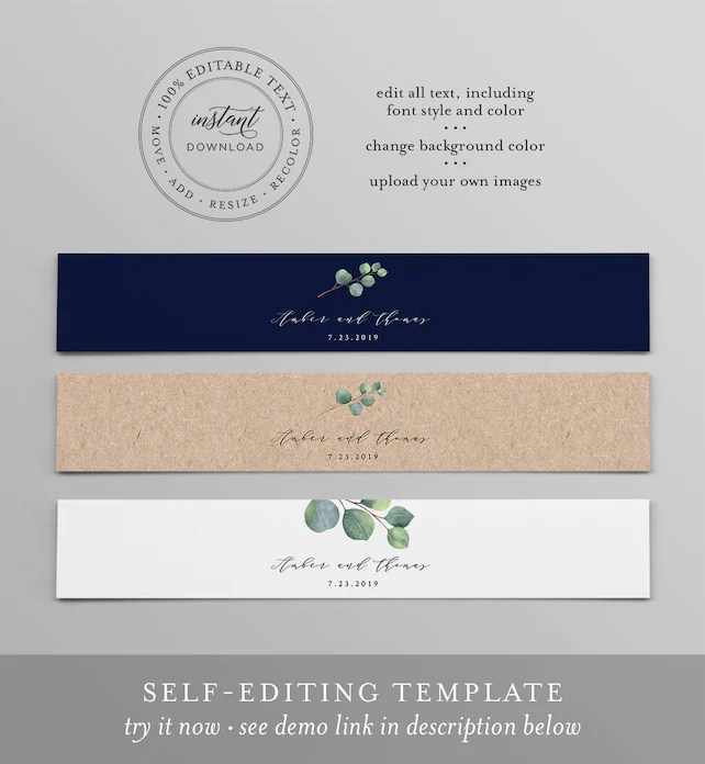 Eucalyptus Belly Band Template, Instant Download, Printable Monogram