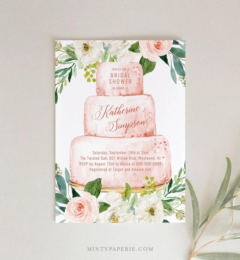 Bridal Shower Invitation Template Printable Wedding Cake Etsy