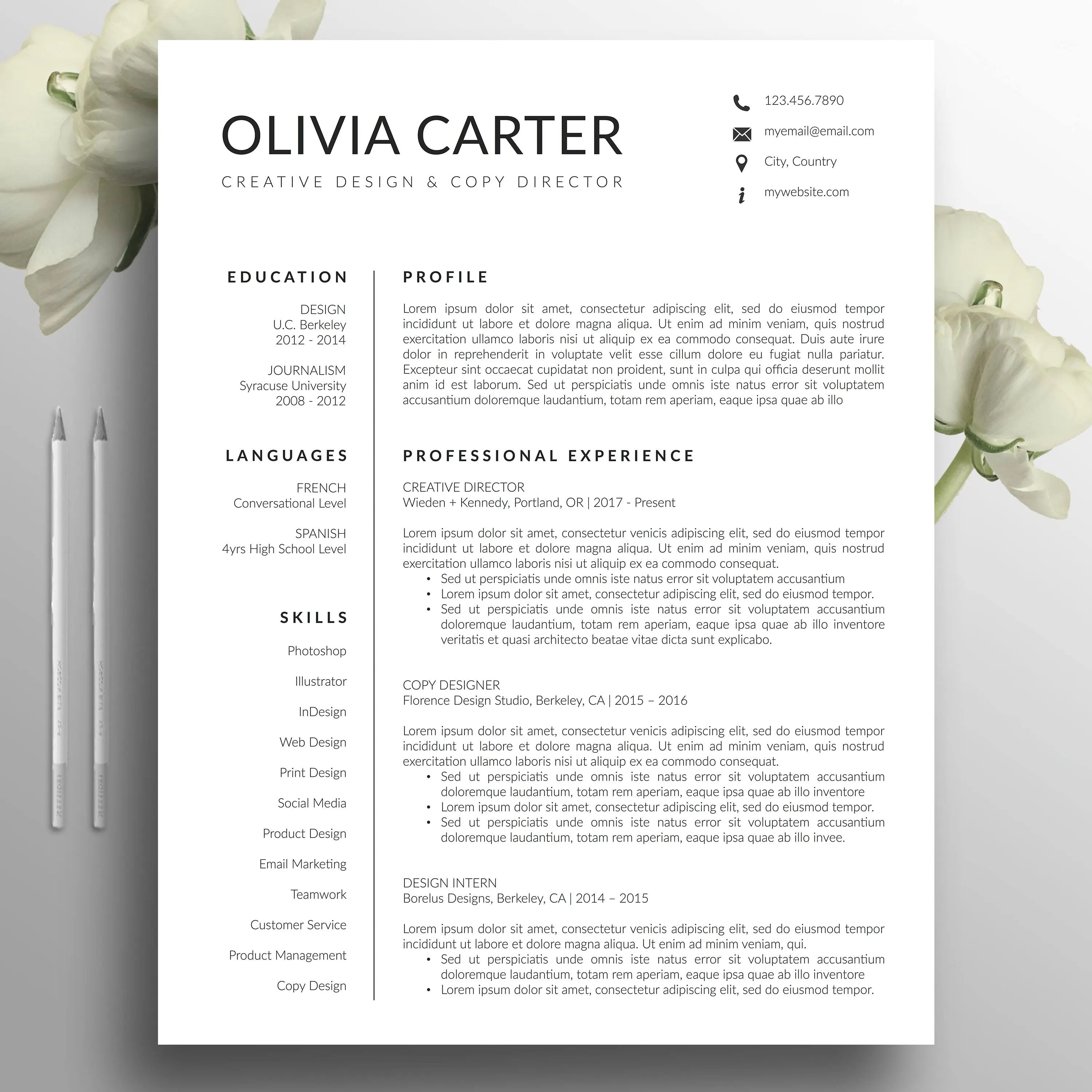 Modern Resume Template Cover Letter Word Mac US Letter Etsy