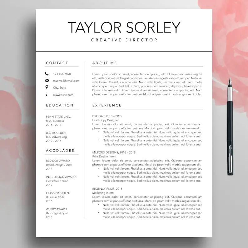 Modern Resume CV Template 3 Page Minimalist Resume Simple Etsy
