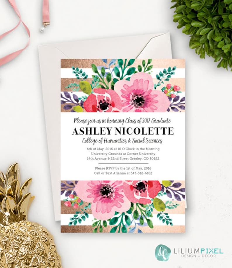 College Graduation Invitation Template / Floral Graduation Etsy