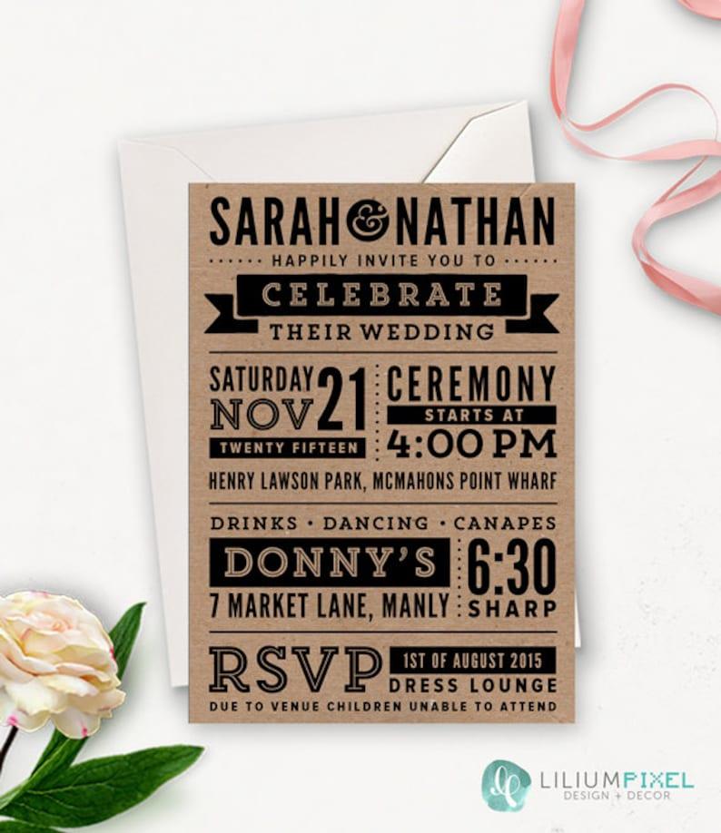 Subway Art Wedding Invitation Printable / Rustic Modern Etsy