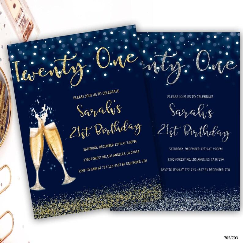 21st birthday party invitation champagne glass birthday Etsy