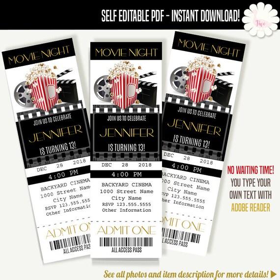 Movie ticket invitation Printable tickets template Movie Etsy