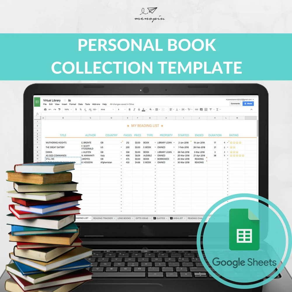 Book Collection Template Books to Read Excel Template Book Etsy
