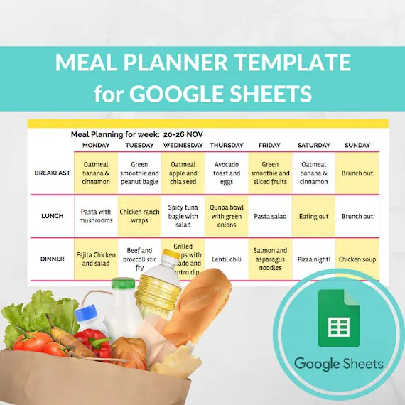 Meal Planner Template Spreadsheet -Grocery Planning Excel Google Sheets -  Weekly Menu Planner - Recipe Book Template - Best Grocery List